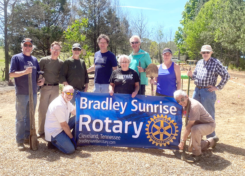 THANKS TO GRANTS and the volunteer labor of Bradley Sunrise Rotary Club and the local Rotarian district, the developing Freedom Park near Valley View Elementary School now boasts an array of landscaping in its nature and play areas. Volunteers who did the recent work during Landscaping Day included, front row from left, Andy Anderson. and Norm Fontana; and back row, from left, Ty Cardin, Johnathan Wagner, Jerry Shannon, Ben Craig, Cheryl Dunson, Rick Creasy, Lisa Mantooth and Alan Goslen.