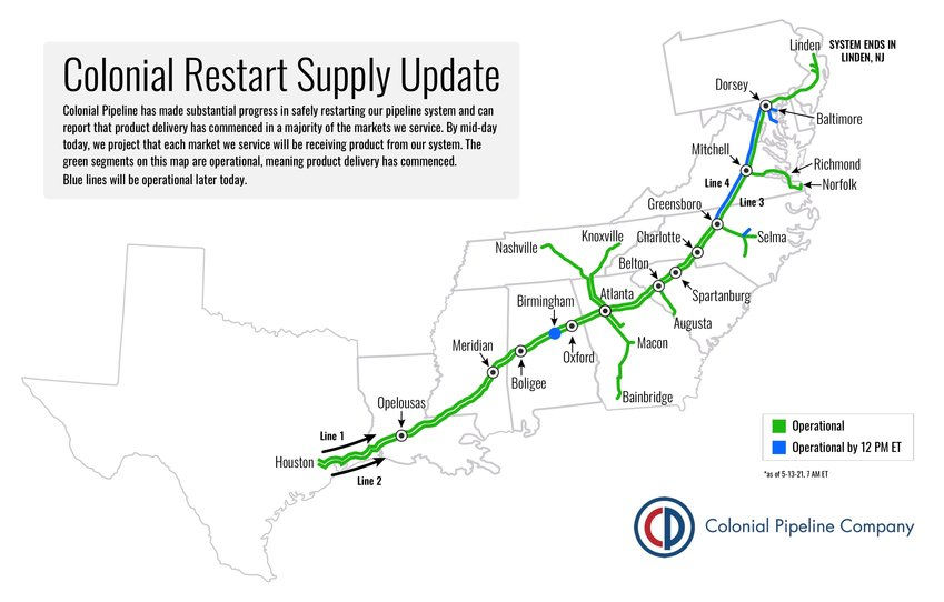THE GREEN segments on this map are operational, meaning product delivery has commenced, according to Colonial Pipeline on Thursday. The company said the blue lines indicated on the map will also be operational later today.