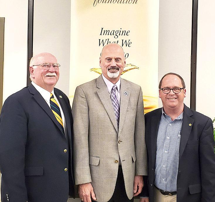 FORMER CSCC Foundation Chair Gary Fuller, left, poses with CSCC President Dr. Bill Seymour, center, and new CSCC Foundation Chair Mike Griffin.