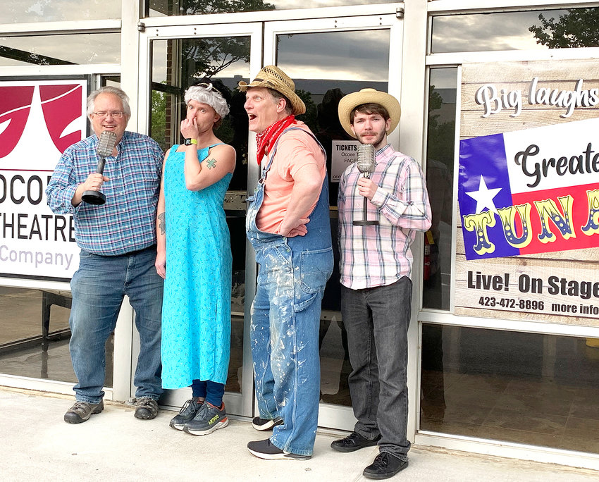 """FROM LEFT, Jeff Guentensberger, Will Jayroe, Drew Nelson and Chandler Overstreet pose as characters from """"Greater Tuna"""" opening at Ocoee Theatre Company."""