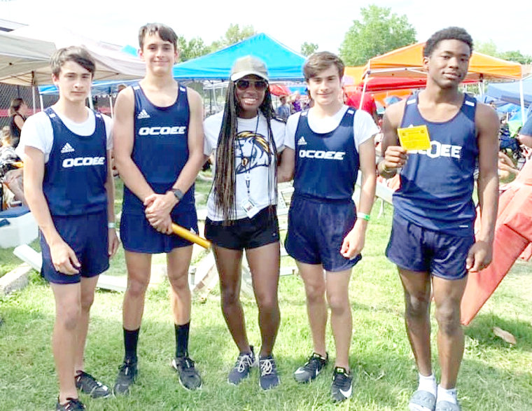 THE OMS 4X100 BOYS relay team took eighth place at the TMSAA state track championships, in Clarksville. Pictured are, Kentan Zakkas, Jeremiah Phelps, relay coach Judith Bell, Ean Zakkas and Markese Allen.