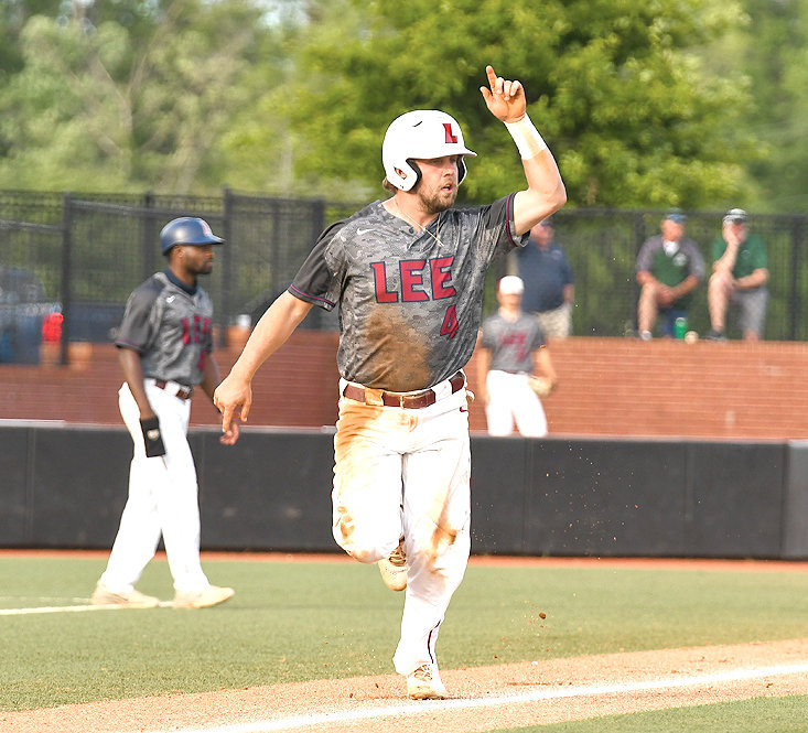 LEE FLAMES' Thomas Zazzaro launched a three-run homer in Friday's loss to Tampa at the GSC championship in Pensacola, Fla.