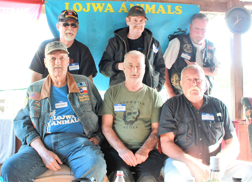 A GROUP of atomic-era United States Army veterans gather a photo after gathering in Cleveland on Memorial Day weekend to reminisce about their work constructing a nuclear waste repository on Enewetak Atoll in the Pacific Ocean during the late 1970s. From left, front, are  Ray Hampton, Bucky Holmes and Harry Daniel; back,  Don Berrigan, Ray Jarvis, and Charles Lewis. Not in the photo is Buford Robinson