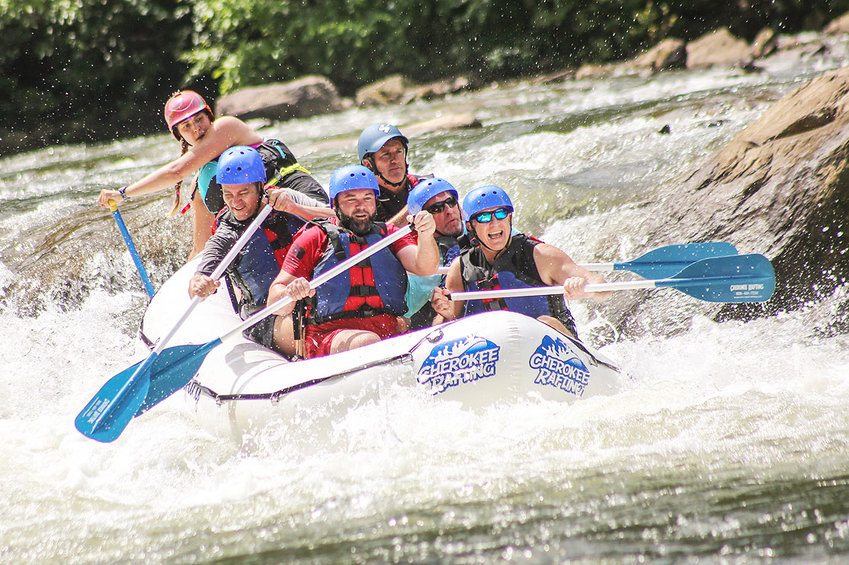 A GROUP of thrill seekers raft down the Ocoee River during the Tennessee Valley Authority's 2021 Ocoee River Run in Polk County on Friday. The event was attended by outdoors enthusiasts from across the United States.