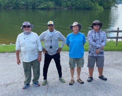 Winners from the Cleveland Bassmasters tournament held on Chickamauga Lake Saturday were: from left, Tim Cody (first place), Jose Rivera (second place), Dewayne Lowe (third place) and the Big fish award went to Scott Jones.