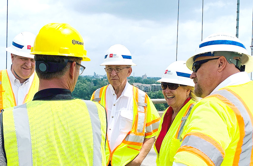 REP. DAN HOWELL gives input on a crack in the Hernando de Soto Bridge in Memphis with members of the Tennessee Department of Transportation. Howell will be featured in an upcoming interview in this series on bridges and public infrastructure.