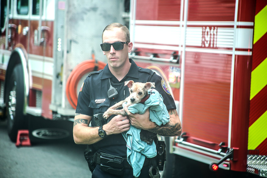 OFFICER Jonathon Dean of the Cleveland Police Department cradles the dog belonging to a driver whose pickup truck crashed down an embankment on Westover Drive S.W. Monday afternoon. Although the driver was transported to an area hospital, the dog was uninjured.