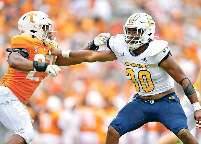 FORMER BRADLEY CENTRAL all-state  linebacker Jay Person (30) is a pre-season All-Southern Conference pick as he enters his second season at the University of Tennessee-Chattanooga.