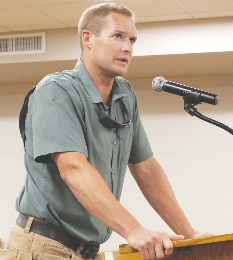 KYLE PAGE, one of the project managers for the PIE Innovation Center, shared updates Monday with the Bradley County Commission's Education Committee.