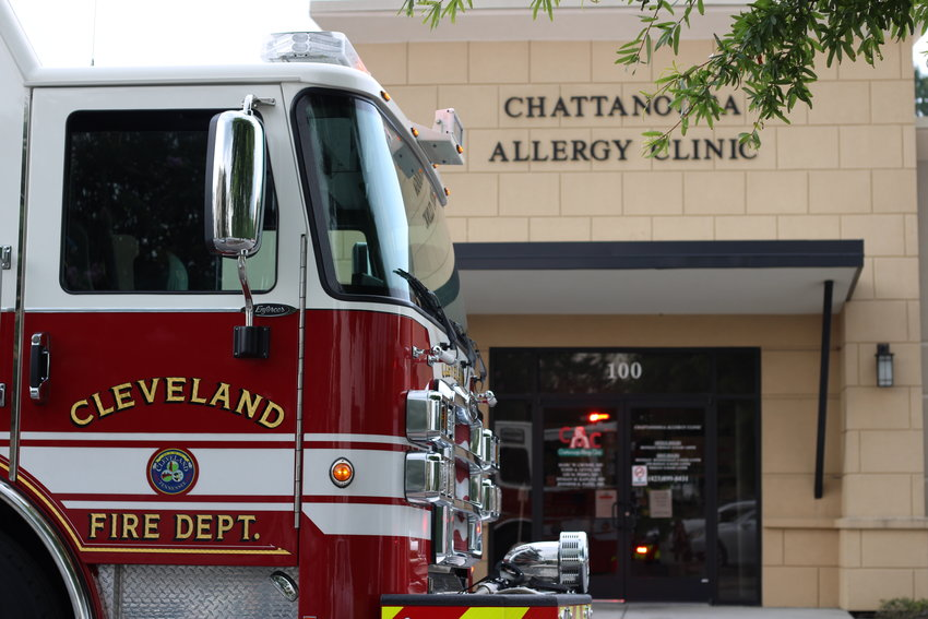 CLEVELAND FIRE Department responds to a call of smoke in the lobby at Chattanooga Allergy Clinic on Wednesday. Fire officials determined there was no fire, and confirmed the A/C unit on the roof was the cause of the smoke.