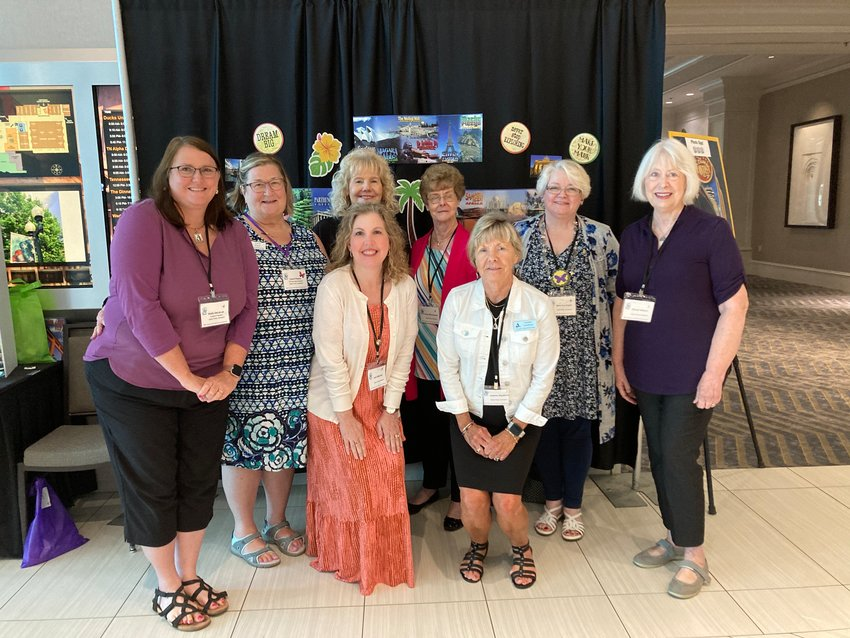 Members who attended the Spring Tennessee State ADK Conference from Alpha Theta were, from left back row, Kelly DeLaLuz, president; Carol Peace, state altruistic chair; Ruth Bowles, membership; Vivian McCormack, altruistic committee; Mary Ann Poplin, first-timer, Cheryl Gilbert, first-timer; front row, Dr. Julie Mitchell, state Fraternity Education chair; and Joanne Swafford, historian.