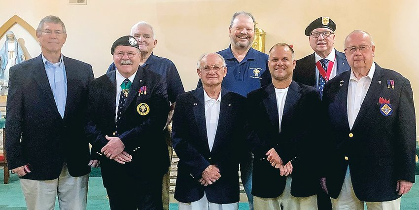 The 4th Degree Knights of Columbus, Trinity Assembly, gathered at the St. Bridges Catholic Church in Dayton and held its 2021-22 Officer Installation. Victor Williams, Knights of Columbus State Marshal, and District Deputy Pat Bisson officiated the induction ceremony. The following officers were present for induction: Faithful Navigator Joseph Mauser Jr., admiral, and 3-Year Trustee Pat Bisson, Pilot Claude Hardison, Outer Sentinel Chris Hill, 2-year Trustee Bill Morrison. Not pictured are Friar Fr. Mike Nolan, Captain Stephen Thorn, Comptroller Michael Shoemaker, Purser Jerry Orman, and 1-Year Trustee William Markiewicz. After the induction ceremony of Officers, they and family members gathered at the Jacob Myer's Restaurant on the River for an evening social meal. The 4th Degree meets the last Thursday of each month, alternating between a business and a social meeting. The core concept of the 4th Degree Knights of Columbus is patriotism. From left are Chris Hill, Victor Williams, Don Meagher, Joseph Mauser Jr., William Morrison, Joseph Mauser, III, Pat Bisso, and Claude Hardison.