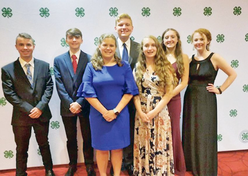 The Bradley County 4-H delegates at the 2021 Tennessee 4-H Congress Banquet were, from left, TJ Zachman, Sam Houston, Ashlee Allen, Zander Caywood, Rosanna Bender, Janie Moore, and Emilee Perry.