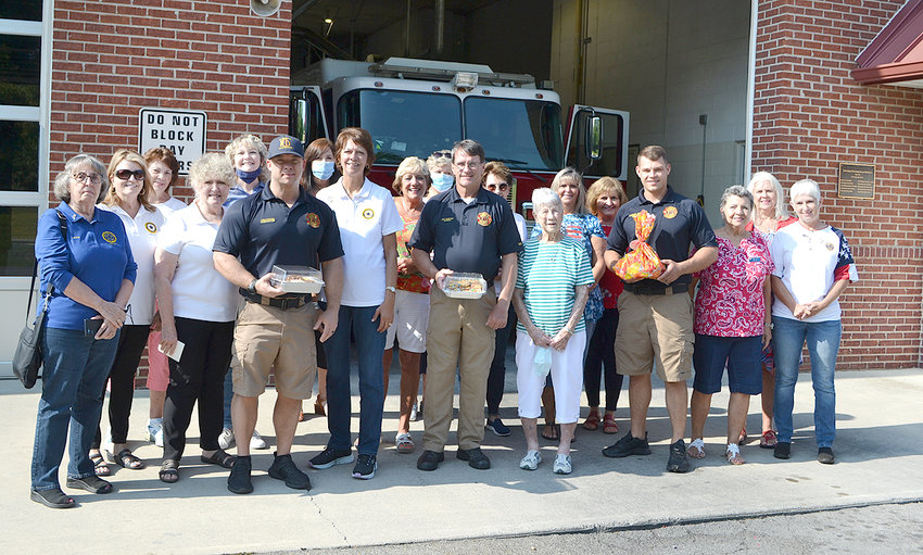 AMERICAN LEGION AUXILIARY UNIT 81 members visited several first responder department sites on Friday, delivering treats of baked goods and cookies. The first stop was to the Cleveland Fire Department station on Paul Huff Parkway. Firefighters Josh Duncan, Jeff Hampton and Mike Ruebusch accepted the goodies from Unit 81 members Josie Rivers, Janice Higgins, Donna Porter, Beverly Abee, Rebecca Stanfield, Linda Ballew, Julie Harris, Polly Heidel, Carol Smith, Juanita Cooper, Suzetta Waters, Wanda Everhart, Penney Lewis, Judy Davis and Martha Kazy.