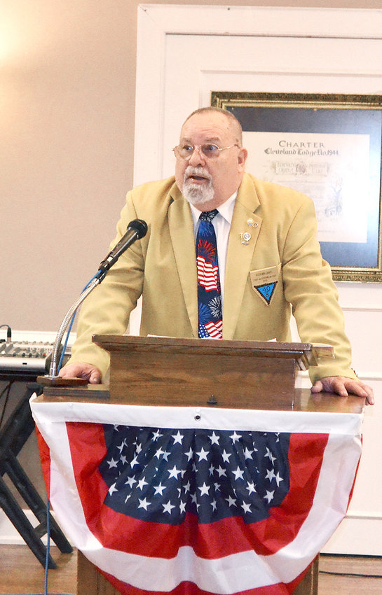 RICK WILLIAMS, past national commander of the Veterans 40 & 8, was one of two guest speakers at the 9/11 remembrance ceremony held Saturday at the Cleveland Elks Lodge