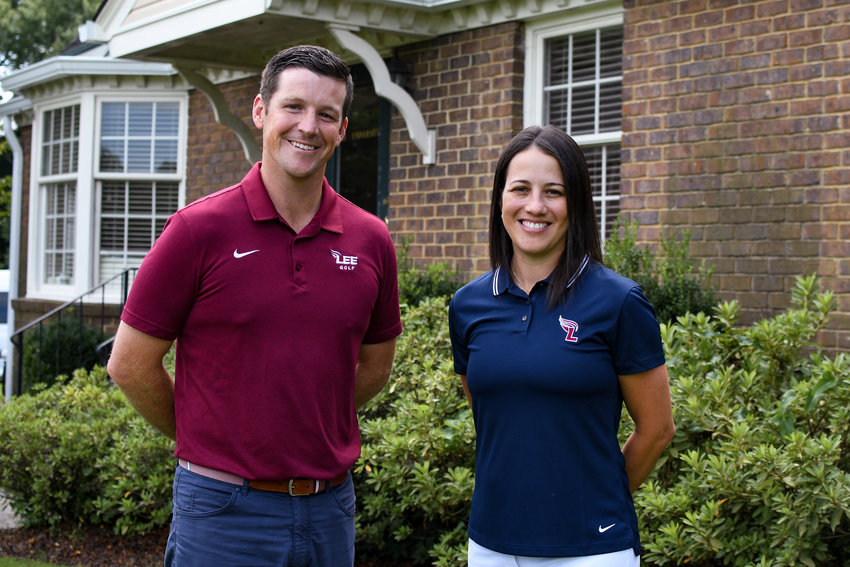 LEE UNIVERSITY Director of Golf John Maupin, left, welcomes new assistant and former Lady Flame All-American Geandra Almeida back to the program.