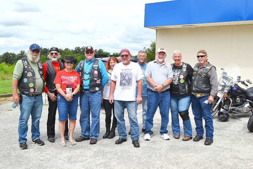 MOTORCYCLISTS PARTICIPATING in the Trail of Tears Memorial Motorcycle Ride gathered in Ocoee on their way to Oklahoma for a ceremony there on Monday.
