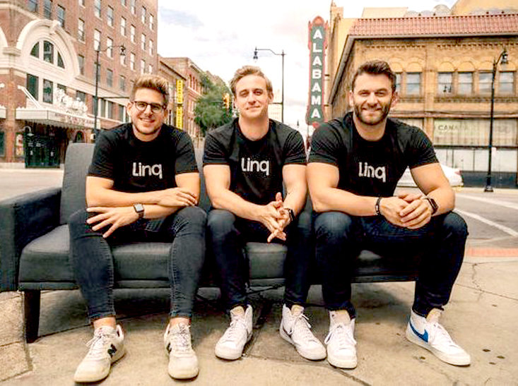 Lee University alumni and Linq co-founders Elliot Potter and Jared Mattsson will present at Thursday's lecture on Lee's campus. Potter, center, and Mattsson, right, are shown with co-founder Patrick Sullivan.