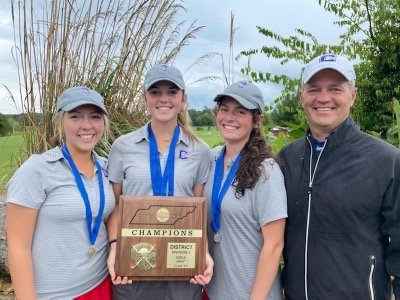 CAPTURING THEIR sixth straight District 5-AAA title, the Cleveland Lady Raiders had little trouble in Monday's event at Chatata Valley Golf Club. Team members are, from left, Madison Martin, Hannah Nall, Darbi Shay and head coach Lamar Mills.