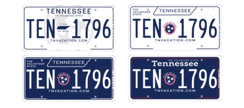 TENNESSEE RESIDENTS are being invited by Gov. Bill Lee to vote on their choice of the state's next standard license plate. The selection includes these four options. Voting is now underway and will continue through Monday, Sept. 27.
