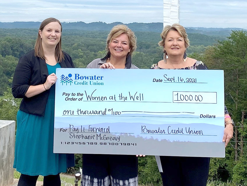 A $1,000 donation was made to Women at the Well from Bowater Credit Union. From left are Tiffany Wilson, Bowater CU Athens branch manager; Stephanie McGreevy, WATW programs director; and Robin Nation, WATW executive director.