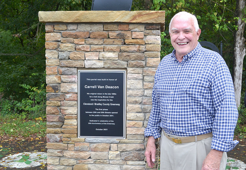VAN DEACON was honored Wednesday at the 20th anniversary ceremony for the first phase of the Cleveland/Bradley County Greenway. A marker indicating his involvement in the beginning of the greenway is now placed as the portal on Keith Street.