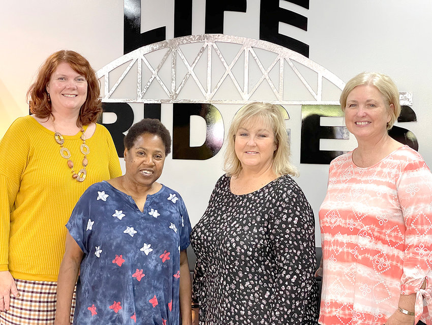 Life Bridges enjoyed a visit from Bradley County Commissioner Cindy Slater, who was interested in learning more about services provided by the agency. The commissioner was able to tour the main center, the Medical Services Clinic, and one supported living home. With interest and  ease she spoke with people supported and learned more about their lives. From left are Jaime Sanders, residential director, Shirley Morgan; Slater, and Diana Jackson Life Bridges CEO.