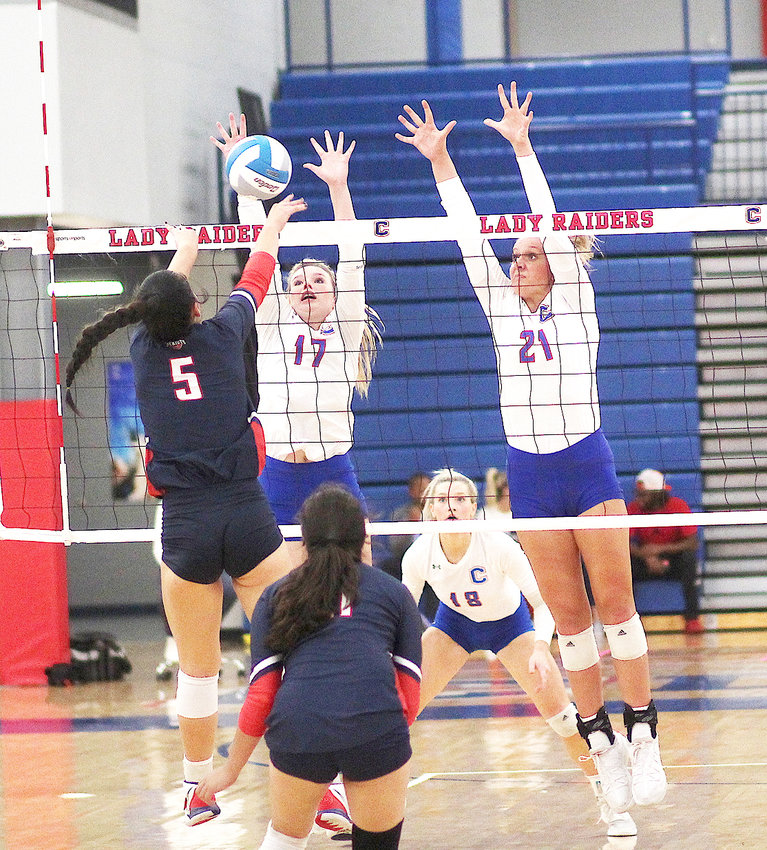SPEARHEADING THE Cleveland High return to the TSSAA State Volleyball Championship for the fourth time in six years has been District 5 Player of the Year Kinslee McGowan (17), plus senior All-District and All-Region performers Jordan Withcraft (21) adn Mary B. Smith (18).