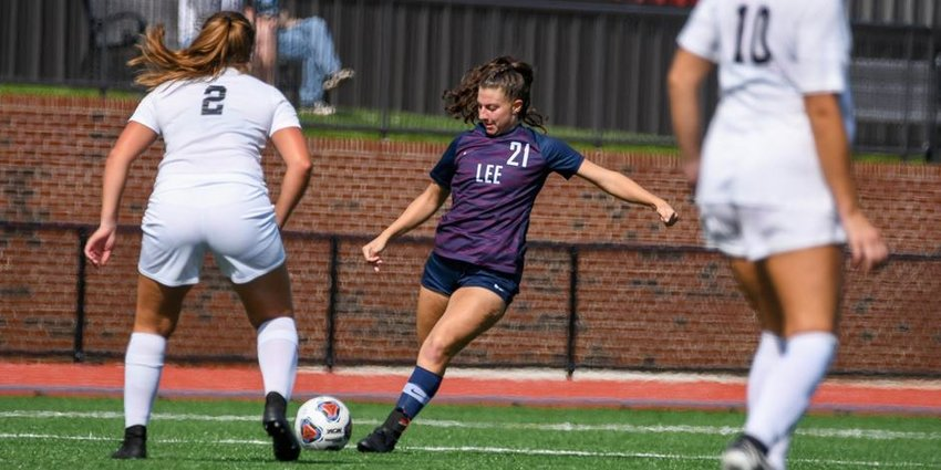 LEE UNIVERSITY senior Caitlin Dickson scored her first career goal off a free kick against AUM on Sunday. The former Walker Valley Lady Mustang helped the No. 2-ranked Lady Flames defeat Auburn Montgomery 4-1, at the Ray Conn Sports Complex.