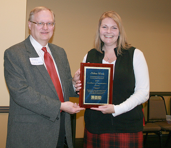 CLEVELAND MEDIA ASSOCIATION Past President Joel Kailing Presents The 2014 Excellence In Communications Award To Melissa