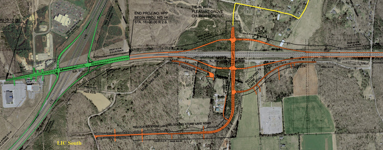 LOCAL PROJECTS for traffic improvements are outlined in this composite map. Exit 20 improvements are in green. The Mayor Tom Rowland Interchange at APD 40 is in orange. The Local Interstate Connector North is in yellow. The area for the LIC South is also designated.  Contributed TDOT map