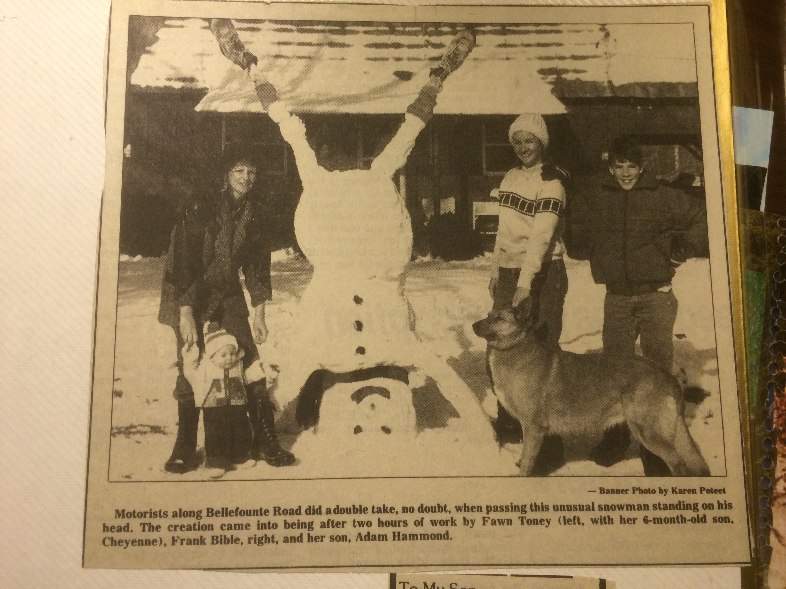 "The original ""Headstand Snowman"" featured in the Banner 1987"