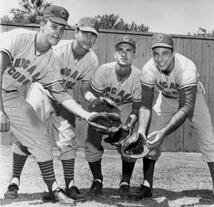 FORMER CHICAGO CUB Ron Campbell, left, poses with other members of the team during a long-ago spring training in Florida.