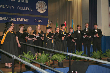 "Vocal Rhapsody, the vocal ensemble of Cleveland State,performs ""Over the Rainbow"" at Saturday's commencement program. Banner photo, BRIAN GRAVES"
