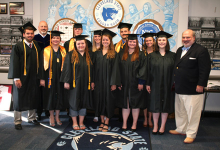 Cleveland State graduates who attended the college through the Bradley Achieves program poses with its benefactor, Allan Jones (right) and CSCC President Dr. Bill Seymour (rear left). Pictured are: Reed Allen, Crodell Medlin, Piper Evans, Jake Lawson, Molly McConnell, Rachel Bennett, Haley Wolfe, Ashley Whitmier, Mercedes Baudino and Kadie Baker. Banner photo, BRIAN GRAVES