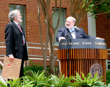 THE LATEST RECIPIENT of the Tennessee Board of Regents' Chancellor's Award for Excellence in Philanthropy, businessman Allan Jones, shares remarks and laughter with TBR Chancellor John Morgan during a ceremony at Cleveland State Community College.