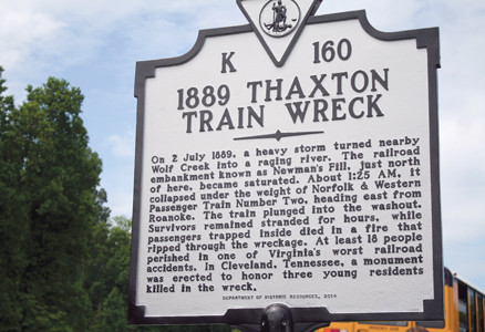 The Virginia historic marker has the history of the Thaxton train wreck of 1889 inscribed.