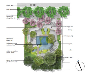 A POSSIBLE design for the area around Taylor's Spring was developed as part of the Smart Communities Initiative between the University of Tennessee and the city of Cleveland. Image courtesy of University of Tennessee Landscape Architecture Environmental Design Lab.