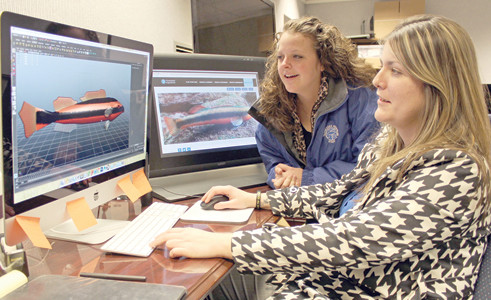 TENNESSEE TECH University's iCube developer Stefanie Smithers, right, shows Sarah Hazzard, Tennessee Aquarium Conservation Institute GIS Analyst, how she rendered a Tangerine Darter for the Oculus project.