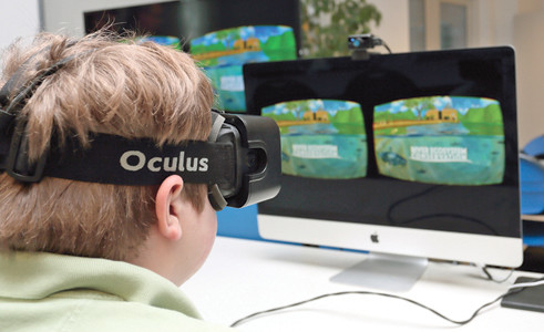 A RED BANK Middle School student tests the new Tennessee Aquarium Oculus Rift conservation game available at the Tennessee Aquarium in Chattanooga.
