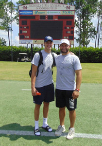 BRADLEY�CENTRAL quarterback Cole Copeland (left) stands with University of Pittsburgh and former Cleveland High quarterback Chad Voytik. Both were at the 2015 Manning Passing Academy. Copeland was there to learn, while Voytik helped coach.