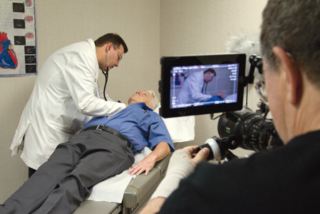 Scenes from the movie with Dr. Marcum caring for patients in the film