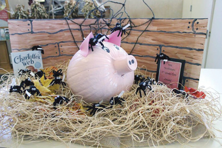 The 2014 Bank of Cleveland Painted Pumpkin second-place winner was Ms. McAlister's classroom at Arnold Elementary, with a Charlotte's Web painted pumpkin.