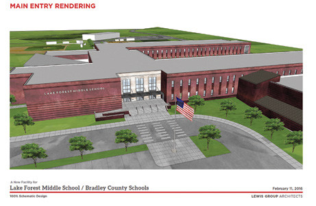 THE MAIN ENTRANCE of the proposed new academic building at Lake Forest Middle School is seen in this image provided by Lewis Group Architects. The school's existing freestanding gym, which would be covered with brick to match, sits at right. A new driveway offers easier access for arrivals and departures by car.