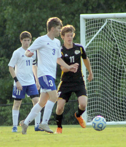 GRAHAM HAMMOND (3) came up big for Cleveland in their 3-2 District 5-AAA championship win over McMinn County Wednesday night. After scoring the game tying second goal in the 77th minute, Hammond went on to send in the game winner in the 102nd minute.