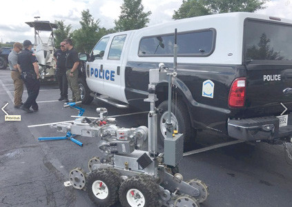 THE BOMB DISPOSAL machine was on display at a recent Cleveland Police Department display.