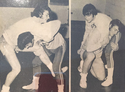Allan Jones and his CHS wrestling teammate, Jim DiGennaro, are seen during their days of high school wrestling. DiGennaro became an SEC wrestling champion at the University of Georgia.