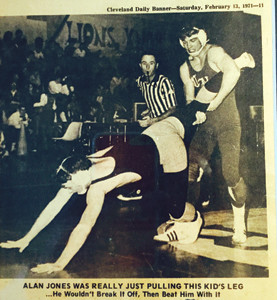 This photo from the Cleveland Daily Banner of Feb. 13, 1971, shows Allan Jones (standing) during a wrestling match he says the coach at the time told him to lose. That moment solidified Jones' determination to make Cleveland/Bradley wrestling competitive.