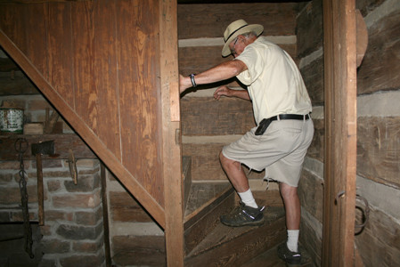 There are upstairs quarters to some of the cabins on Tom Newman's property.