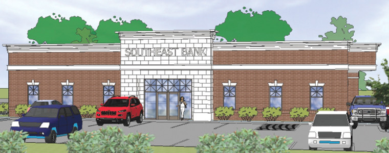 THIS ARCHITECTURAL RENDERING shows the design of the future SouthEast Bank location at Keith Street and Raider Drive. The project is a relocation of the current local branch.